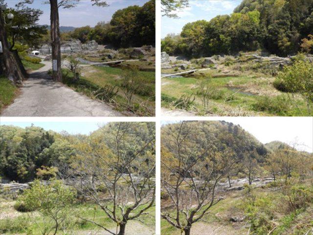 目の前の岩畳の風景