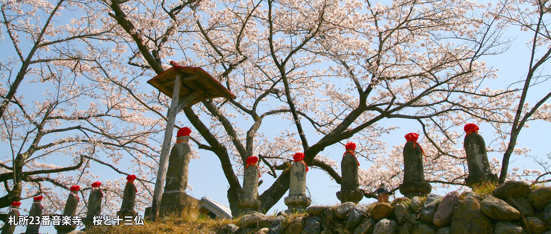 札所23番音楽寺 桜と十三仏